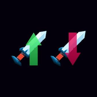 Ulepszanie i obniżanie wersji interfejsu użytkownika gry fantasy broń miecz ikona zasilania dla elementów zasobu gui