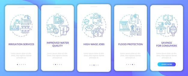 Ulepszona jakość wody wprowadzająca ekrany stron aplikacji mobilnej