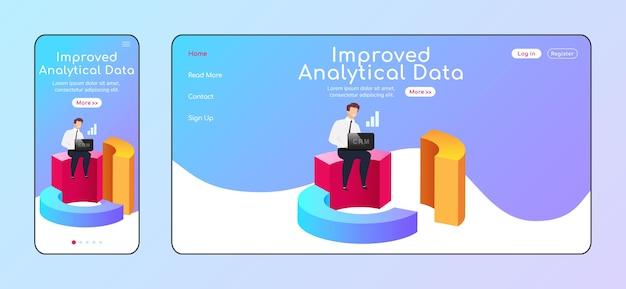Ulepszony szablon płaskiego koloru strony docelowej do adaptacji danych analitycznych. biznesmen z układem strony głównej laptopa i komputera stacjonarnego. jednostronicowy interfejs użytkownika witryny crm. schemat strony internetowej dla wielu platform