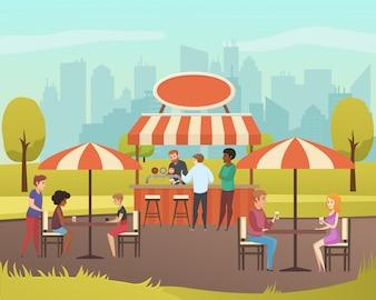 Ulica Cafe lub letni bar w City Park Flat Vector