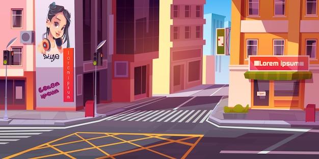 Ulica miasta z domami i skuter na drodze