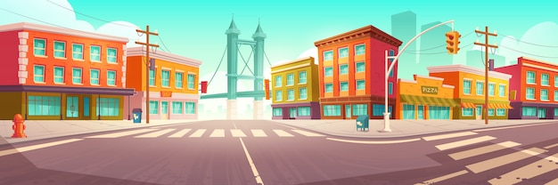 Ulica miasta z domami i wiaduktem drogowym