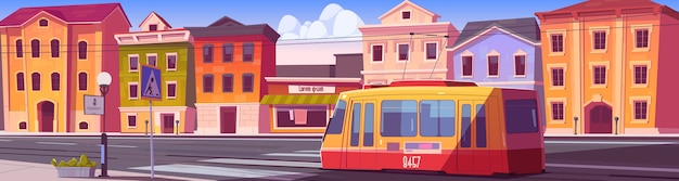 Ulica miejska z domami, tramwajem i pustą drogą samochodową z przejściem dla pieszych. kreskówka pejzaż miejski z tramwajem, krajobraz miejski z budynkami mieszkalnymi, sklepem i koleją na drodze