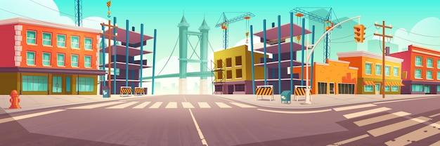 Ulica miejska z placem budowy, roboty budowlane