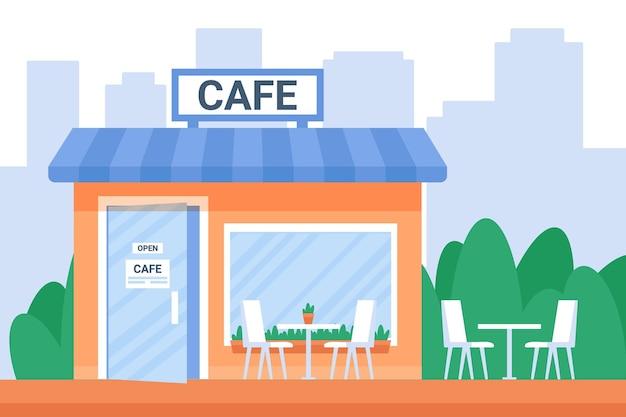 Ulica otwarta kawiarnia zewnętrzna w mieście z oknem i szklanymi drzwiami. kawiarnia fasada budynku miejskiego.