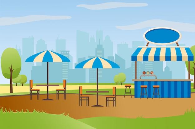 Ulica restauracja lub bar w city park vector