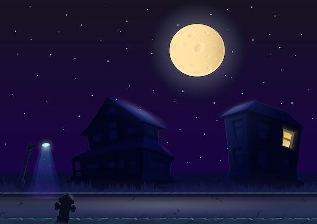 Ulica w nocy przy pełni księżyca