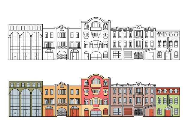 Ulica w starym mieście europy. linia domów.