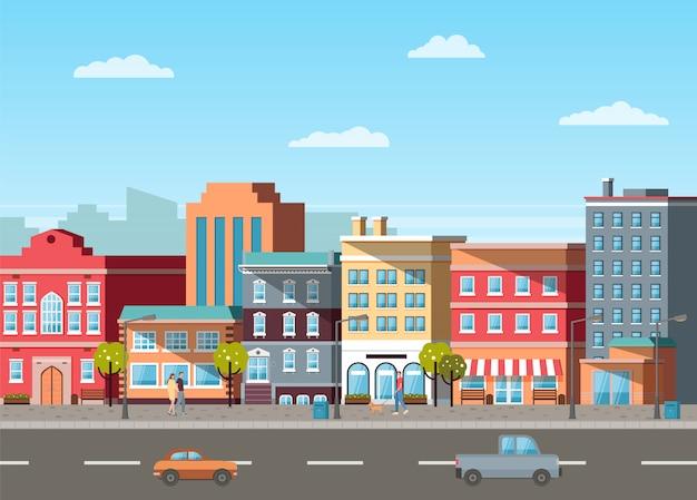 Ulica z budynkami i samochodami na drogach wektorowych