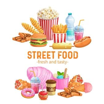 Uliczne banery żywnościowe. szablon dań na wynos z goframi bąbelkowymi, hongkongiem, spiralnymi chipsami ziemniaczanymi, lemoniadą i jabłkami w karmelu. frytki fast food, hamburger lub hot dog