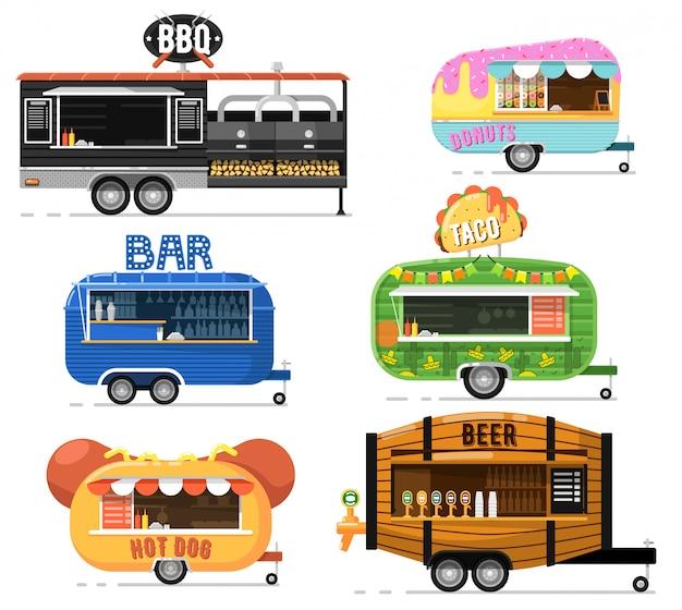 Uliczne ciężarówki fast food zestaw w stylu płaski