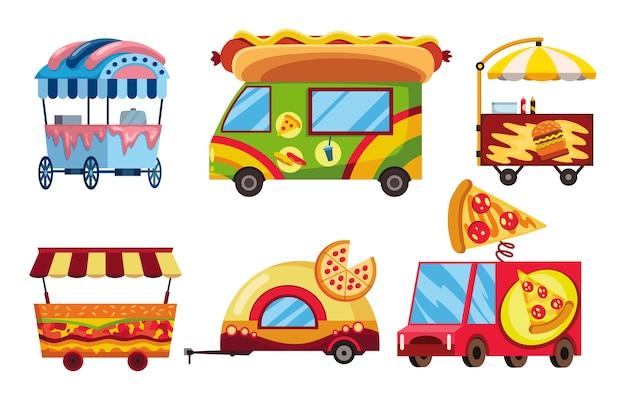 Uliczne fast foody. zestaw mobilnych samochodów spożywczych. uliczne sklepy z pizzą, hamburgerami i hot dogami. uliczne wózki, targi spożywcze.