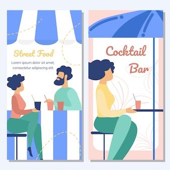 Uliczne jedzenie i koktajl bar płaski wektor transparent
