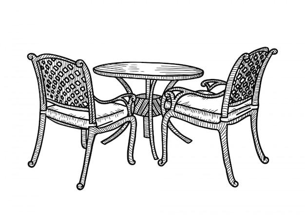 Uliczne meble ogrodowe w letniej kawiarni. mały okrągły stół z dwoma wiklinowymi fotelami. szkic ilustracji.