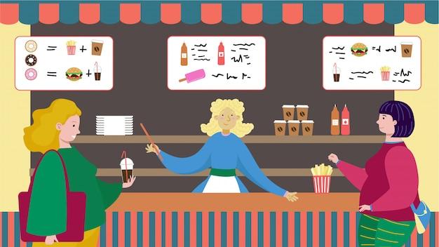 Uliczny cukierniany miejsce, deseru sklepu kelnera rozmowy gościa cukierku słodyczy ilustracja. postać kobiety sklep fast food jeść złe danie.