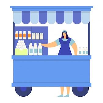 Uliczny miejski sklep z mlekiem i sklep z jajkami, rolnik postać kobiety handluje domowym nabiałem na białym, ilustracja.