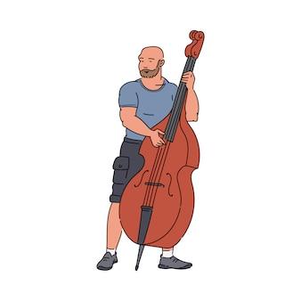 Uliczny muzyk grający kontrabas szkic wektor ilustracja kreskówka na białym tle.