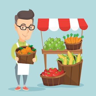 Uliczny sprzedawca z owoc i warzywo.