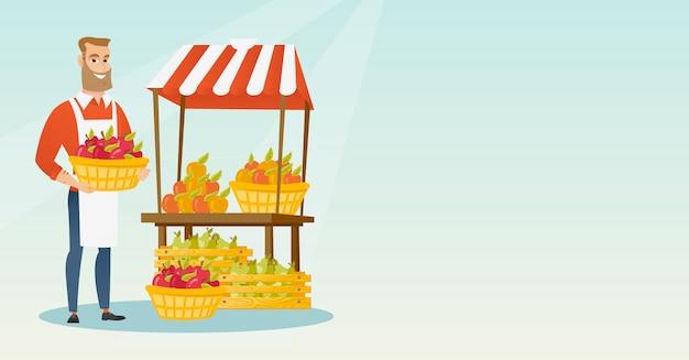 Uliczny sprzedawca z owocami i warzywami.