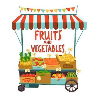 Uliczny wózek z owocami