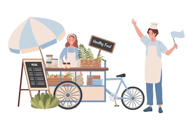 Uliczny wózek ze zdrową żywnością