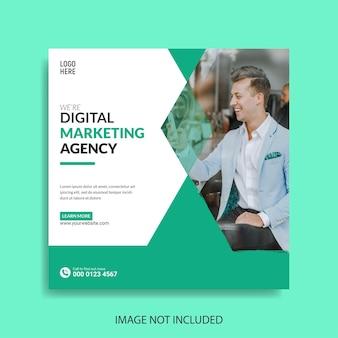 Ulotka agencji marketingu cyfrowego lub kwadratowy szablon postu w mediach społecznościowych