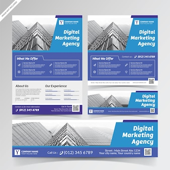 Ulotka agencji marketingu cyfrowego, media społecznościowe i szablony banerów