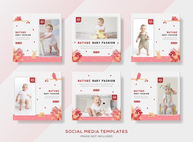 Ulotka banerowa z kolekcją ubrań dla niemowląt dla mediów społecznościowych