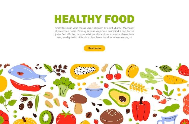 Ulotka banerowa z produktami zdrowej żywności owoce, warzywa i orzechy płaskie wektor ilustracja kreskówka na białym tle