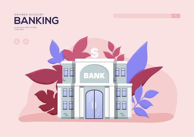Ulotka bankowa dotycząca konta oszczędnościowego, baner internetowy, nagłówek interfejsu użytkownika, wejście na stronę. wektor baner głowy lub wprowadź slajd.