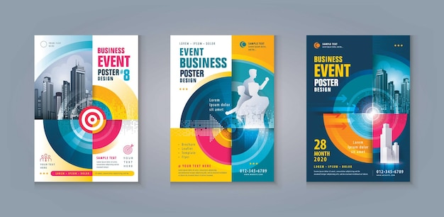 Ulotka biznesowa broszura ulotka szablon projekt zestaw abstrakcyjna strzałka i docelowy wzrost do sukcesu