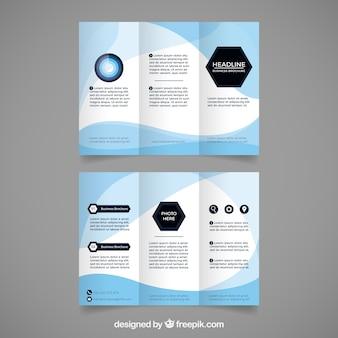 Ulotka biznesowa o niebieskich falistych kształtach
