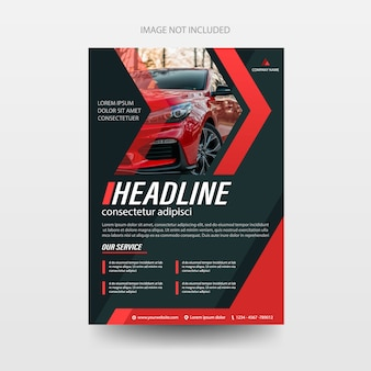 Ulotka broszury ulotki samochodu pokrywa szablon raportu rocznego