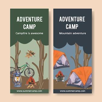 Ulotka campingowa z ilustracjami ogniska, roweru, namiotu i latarni.