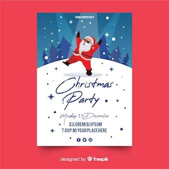 Ulotka christmas party w płaskiej konstrukcji