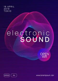 Ulotka dj-a. dynamiczny kształt i linia gradientu. neonowa ulotka dj. muzyka taneczna elektro