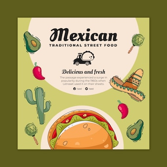 Ulotka do kwadratu z meksykańskim jedzeniem