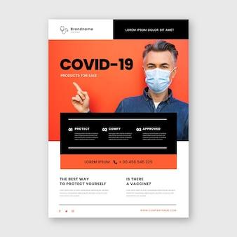 Ulotka dotycząca produktów medycznych koronawirusa ze zdjęciem