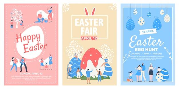 Ulotka dotycząca targów wielkanocnych. wesołych świąt świętujących plakaty imprezowe, wiosenne targi świąteczne, zestaw ilustracji rodzinnego wiosennego festiwalu jaj. plakat jarmarkowy, promocja uroczystości