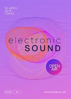 Ulotka dźwiękowa. jasny szablon broszury dyskoteki. dynamiczny kształt i linia gradientu. neonowa ulotka dźwiękowa. muzyka taneczna elektro. impreza festynu elektronicznego. plakat klubu dj. impreza techno trance.