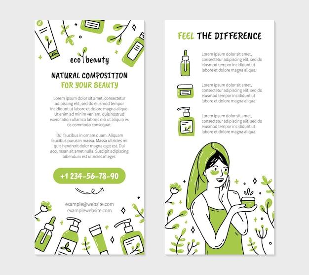 Ulotka ekologicznych kosmetyków ekologicznych z kobietą
