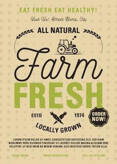 Ulotka farm fresh w formacie a4. lokalnie uprawiane, wszystkie naturalne produkty ekologiczne projekt graficzny plakatu z traktorem.