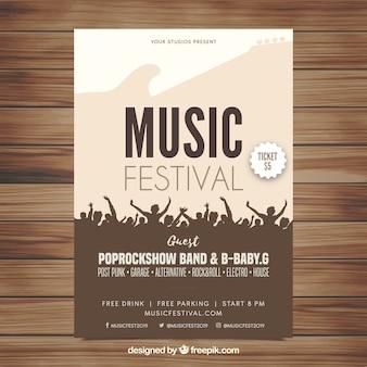 Ulotka festiwal muzyczny w płaskiej konstrukcji