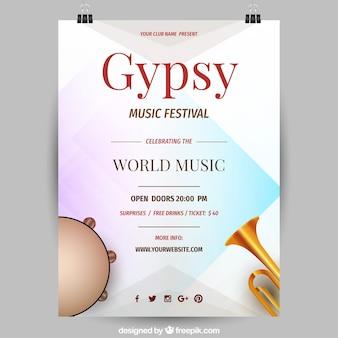 Ulotka festiwal muzyczny z instrumentów w realistyczny styl