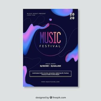 Ulotka festiwal muzyki z abstrakcyjnych kształtów