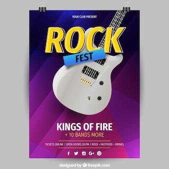 Ulotka festiwal muzyki z gitara elektryczna w realistyczny styl