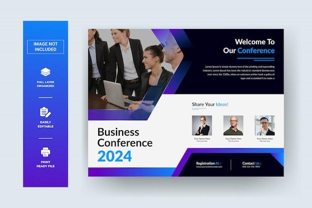 Ulotka firmowa dotycząca poziomej konferencji biznesowej