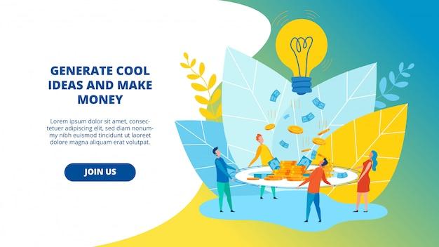 Ulotka generuj fajne pomysły i zarabiaj pieniądze na płasko.