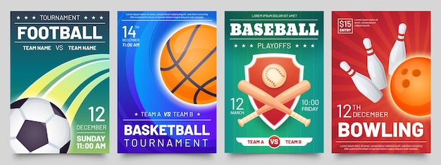 Ulotka gier sportowych. plakaty z meczami koszykówki, baseballu, piłki nożnej i turnieju w kręgle. piłka nożna, gra w piłkę szablony transparentu wektor zestaw. ogłoszenie mistrzostw lub zawodów