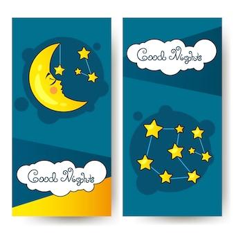 Ulotka good nighth i wielki księżyc. projekt artystyczny dla strony internetowej, witryny, reklamy, banera, plakatu, ulotki, broszury, druku karty planszowej